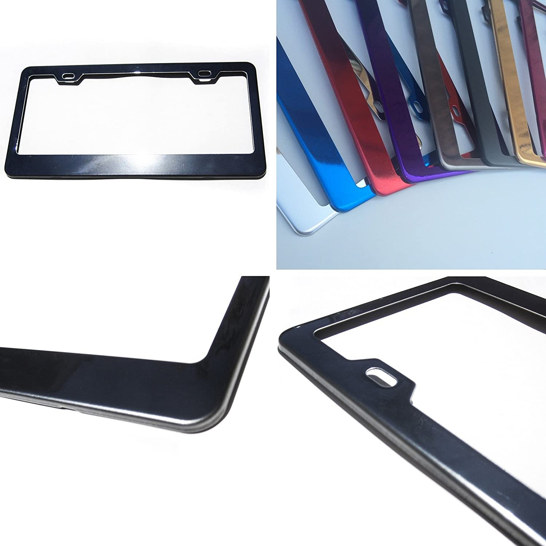 New Stainless Steel Powder Coated Black Chrome Universal Fit License Plate Frame KA Depot ka-ssf-bc