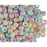 50 Stück Pony Bead - Tschechische gepresste Glasperlen in Form einer Walze 5,5mm mit einem großen Loch, Mix Half Color/White Luster