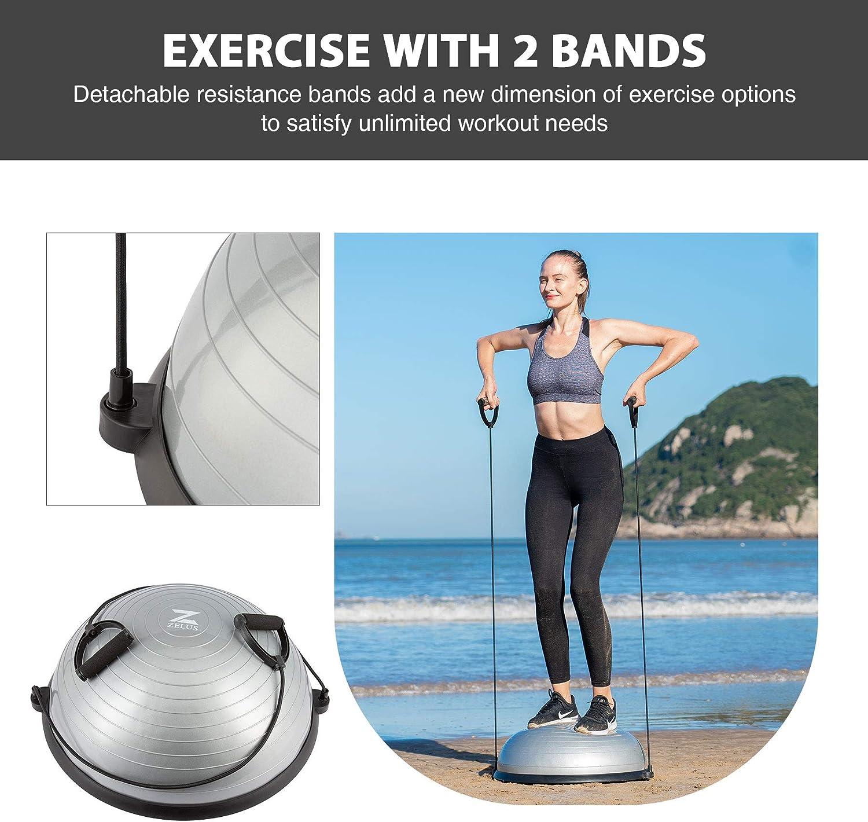 ZELUS Balance Ball Trainer Half Yoga Exercise Ball with Resistance Bands
