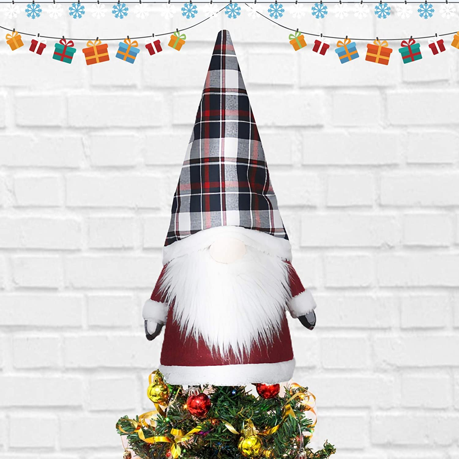 VARWANEO Gnomes Christmas Tree Topper Star Christmas Decorations Clearance 25 Inch Large Swedish Tomte Black Christmas Tree Ornaments Gnome Plush Scandinavian Santa Thanksgiving Home Decor