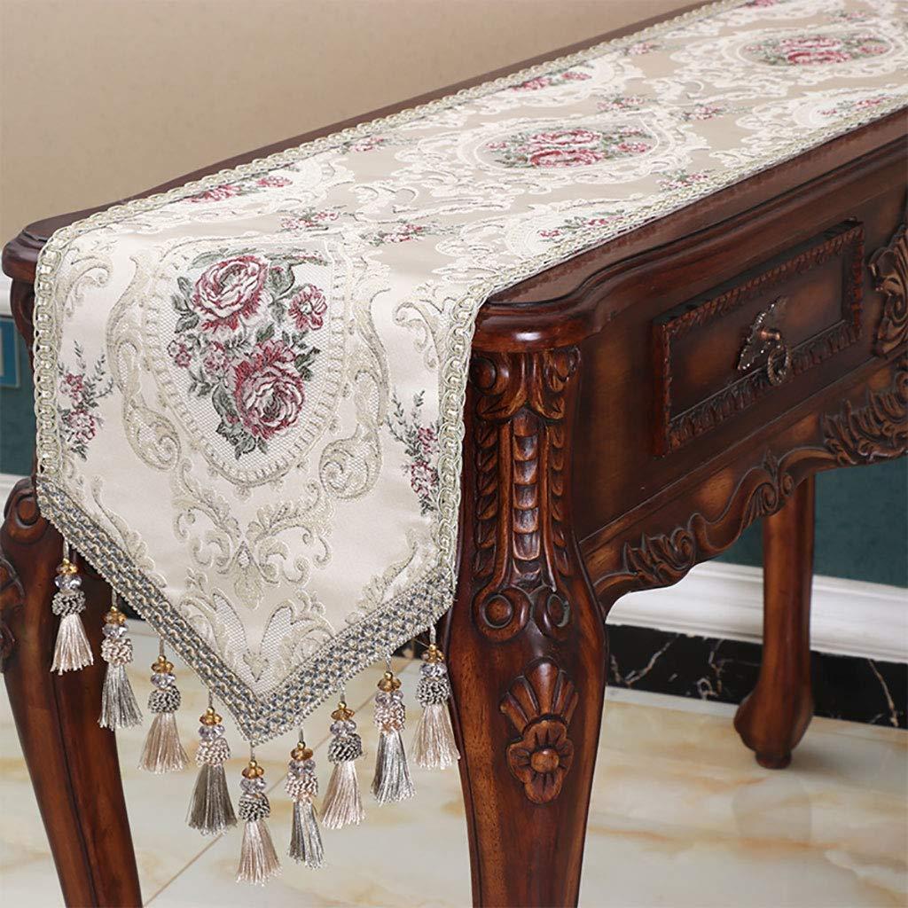 テーブルランナー、ランナーとドレッサースカーフ、結婚披露宴の装飾のためのサテンのテーブルランナー、しわのないテーブルランナー、青、緑、ベージュ(色:ベージュ、サイズ:35 * 240 cm)   B07SKN84RS