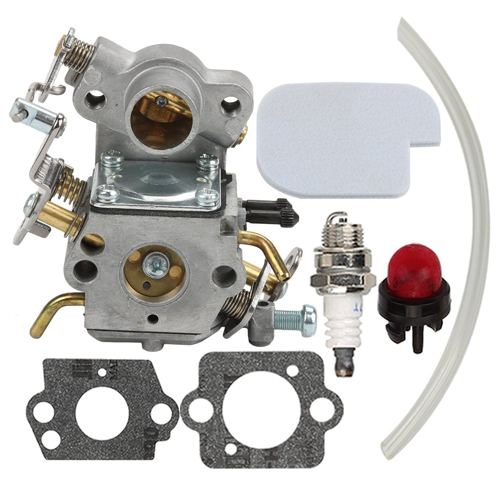 Hilom Carburetor with Air Filter Spark Plug for Poulan Craftsman Zama C1M-W26C 545070601 545040701 530035590 Chainsaw P3314 P3314WS PP3516 P3416 P4018 by Hilom
