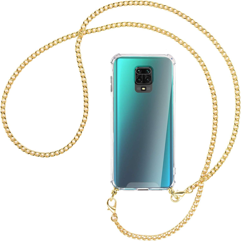 mtb more energy® Collar Smartphone para Xiaomi Redmi Note 9s, Note 9 Pro (6.67'') - Cadena de Metal (Oro) - Funda Protectora ponible - Carcasa Anti Shock con Correa para Hombro