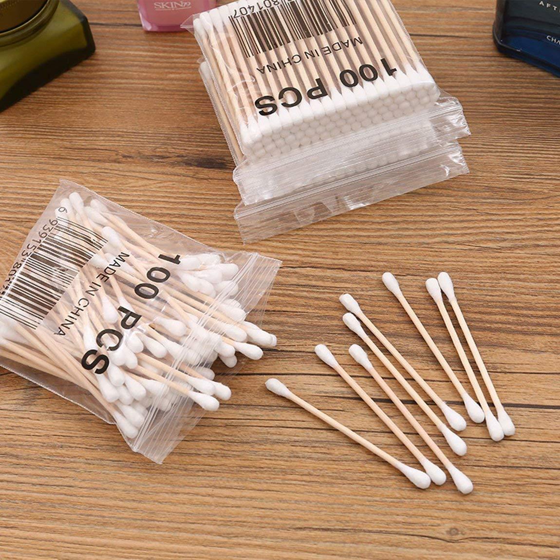 farbe: Wei/ß 100 st/ücke Holzstab Wattest/äbchen Applikator Q-tip Doppel Holzgriff Robust