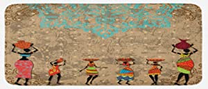 Ambesonne African Kitchen Mat, Vintage Girls Pots on The Head on Folkloric Boho Background Illustration, Plush Decorative Kitchen Mat with Non Slip Backing, 47