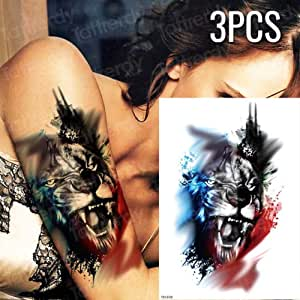 Handaxian 3 Piezas Tatuaje Mujer cráneo Impermeable Tatuaje Negro ...