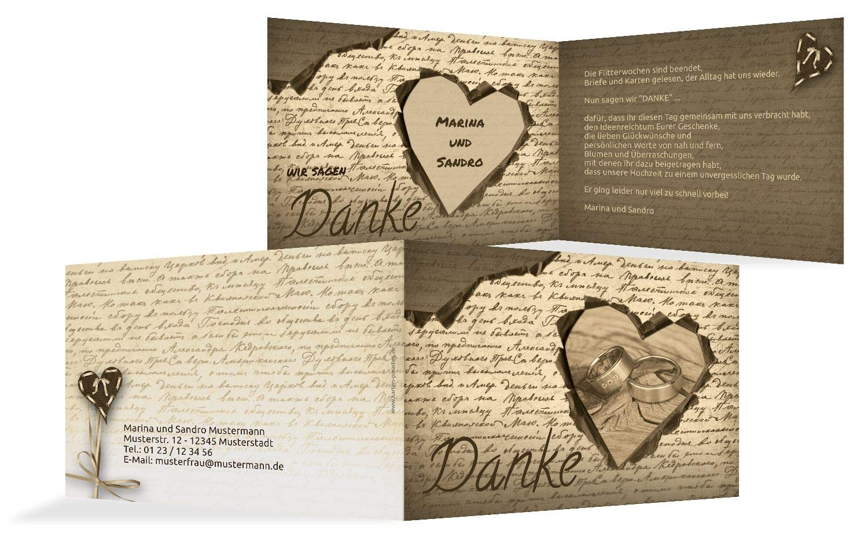 Hochzeit Dankeskarte 2 Herzensgedicht, 10 Karten, braunmatsch B07HNQGY7Q | Guter Guter Guter weltweiter Ruf  | Hochwertige Materialien  | Kompletter Spezifikationsbereich  3e61f6