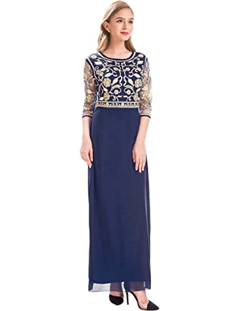 e05f192fb6 MANER Women Chiffon Beaded Sequin 3 4 Sleeve Long Gowns Prom Evening  Bridesmaid Dress (
