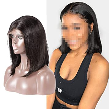 Short Lace Front Human Hair Wigs For Black Women Brazilian Straight Remy Bob Wig,Natural