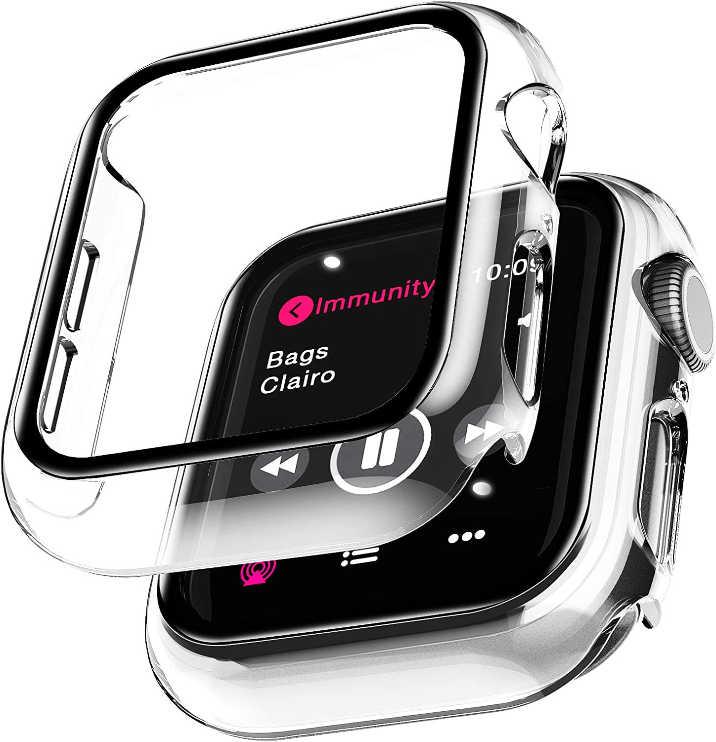 2 Pack LϟK Case for Apple Watch 40mm Series 6/5/4/SE Built-in Tempered Glass Screen Protector, All-Around Ultra-Thin Bumper Full Cover Hard PC Protective Case for iWatch 4/5/6/SE 40MM - Clear