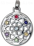 Alterras - Anhänger: Blume des Lebens mit Feuerkristallen aus 925-Silber