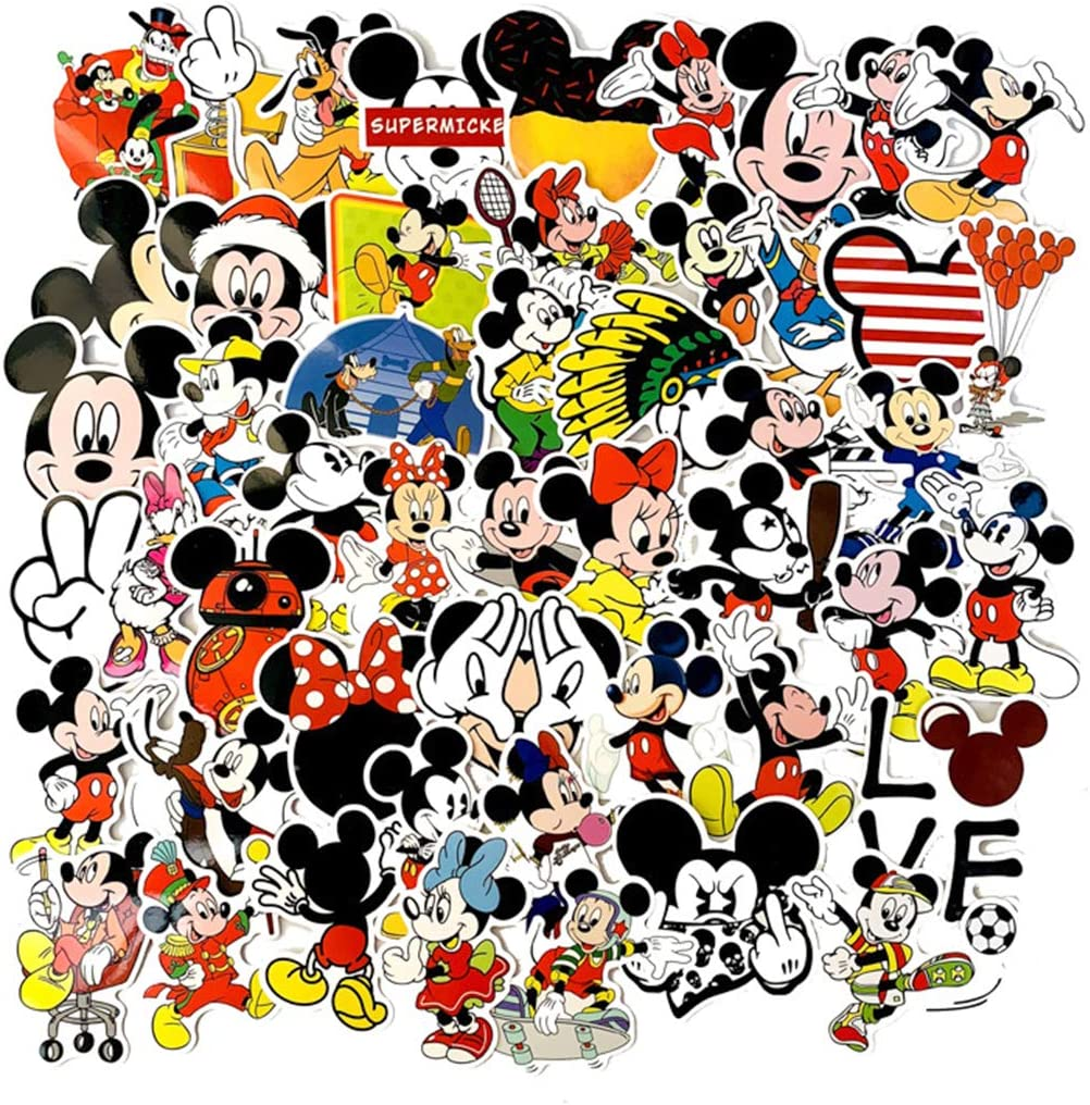 50Pcs Hot Disney Mickey Mouse Stickers for Water Bottle Cup Laptop Guitar Car Motorcycle Bike Skateboard Luggage Box Vinyl Waterproof Graffiti Patches WJ