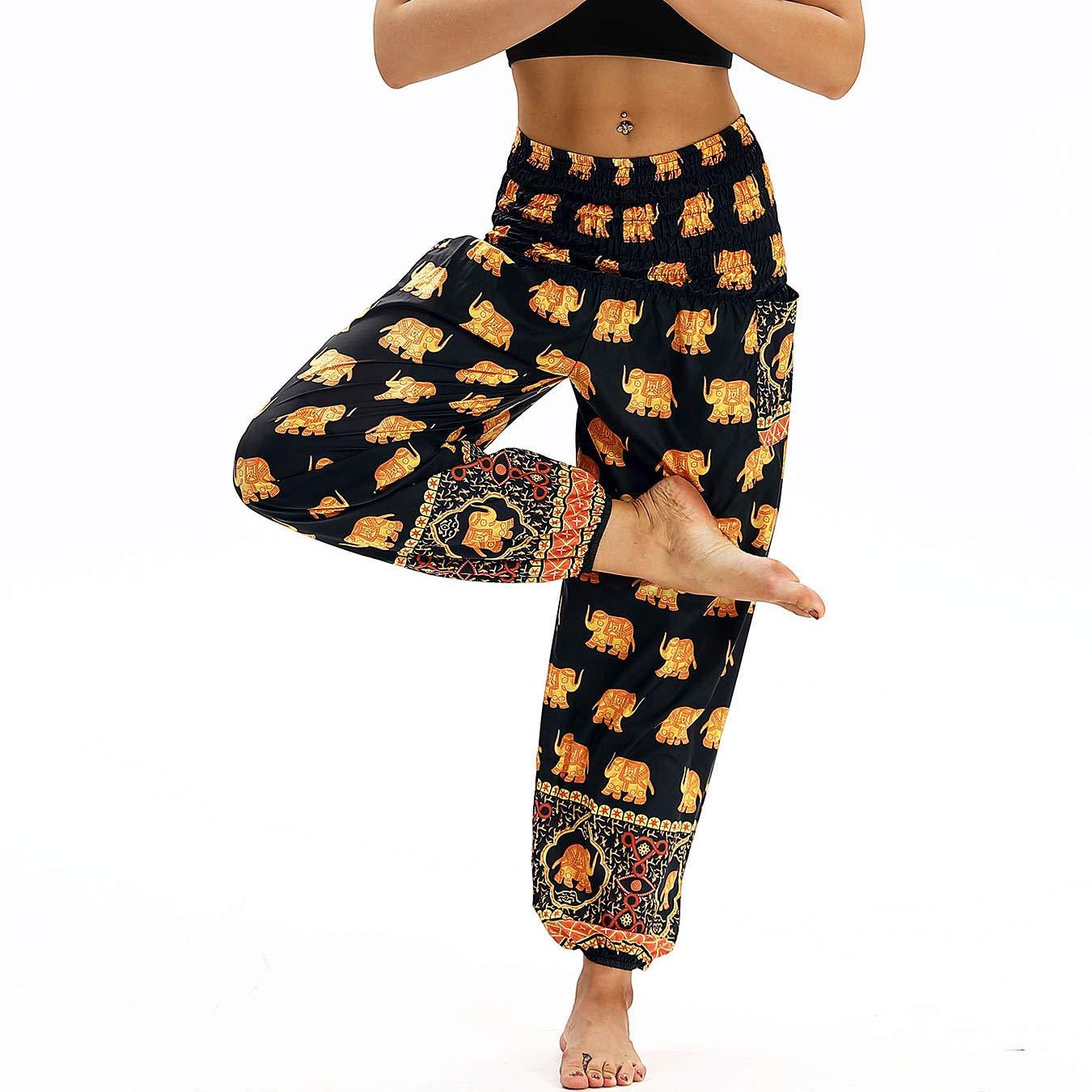 Nuofengkudu Mujer Pantalones Hippies Tailandeses Estampado Verano Cintura Alta Elastica con Bolsillos para Yoga Pants Casual Amarillo Elefante: Amazon.es: ...