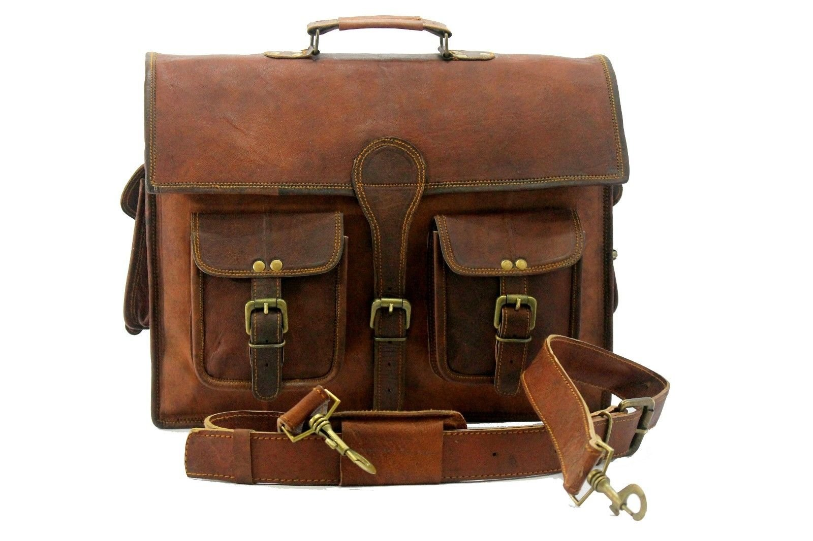 Shivam 15 Inch Handmade Leather Bag Office Bag Laptop Bag Satchel Messenger Bag