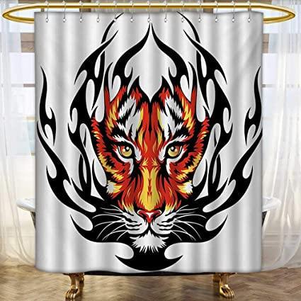 Lacencn TattooShower Curtains 3D Digital PrintingJungle Prince Tigers Head In Black Flames