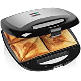 Tower T27010 4 Slice Sandwich Maker, Easy Clean, Ceramic Stone Coated, 1000 W, Black