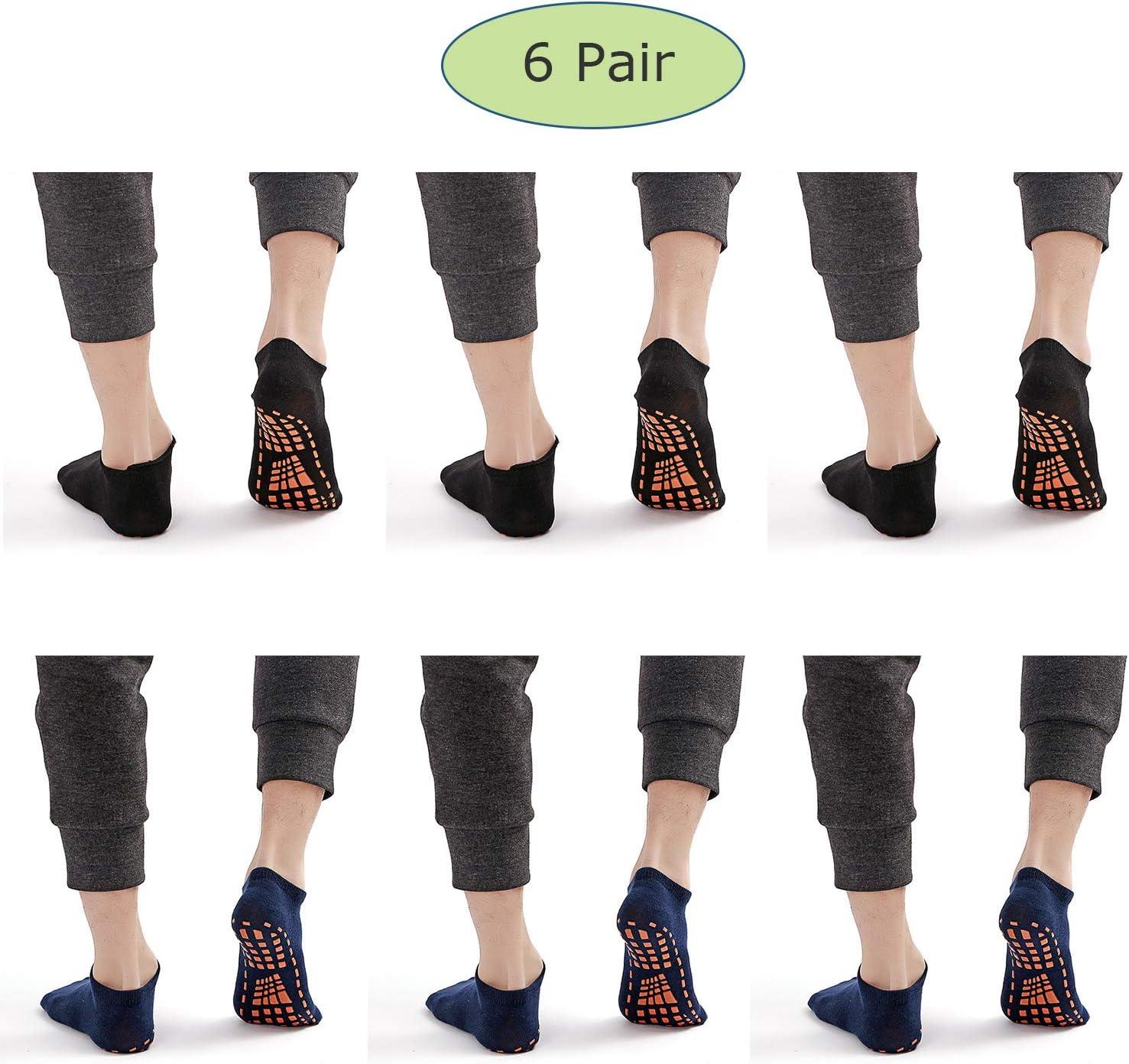 Yoga Calcetines Antideslizantes para Fitness De Baile De Ballet Pilates, Suave y Confortable Algodón para Hombres,Calcetines De Piso, XL / 6 Colores