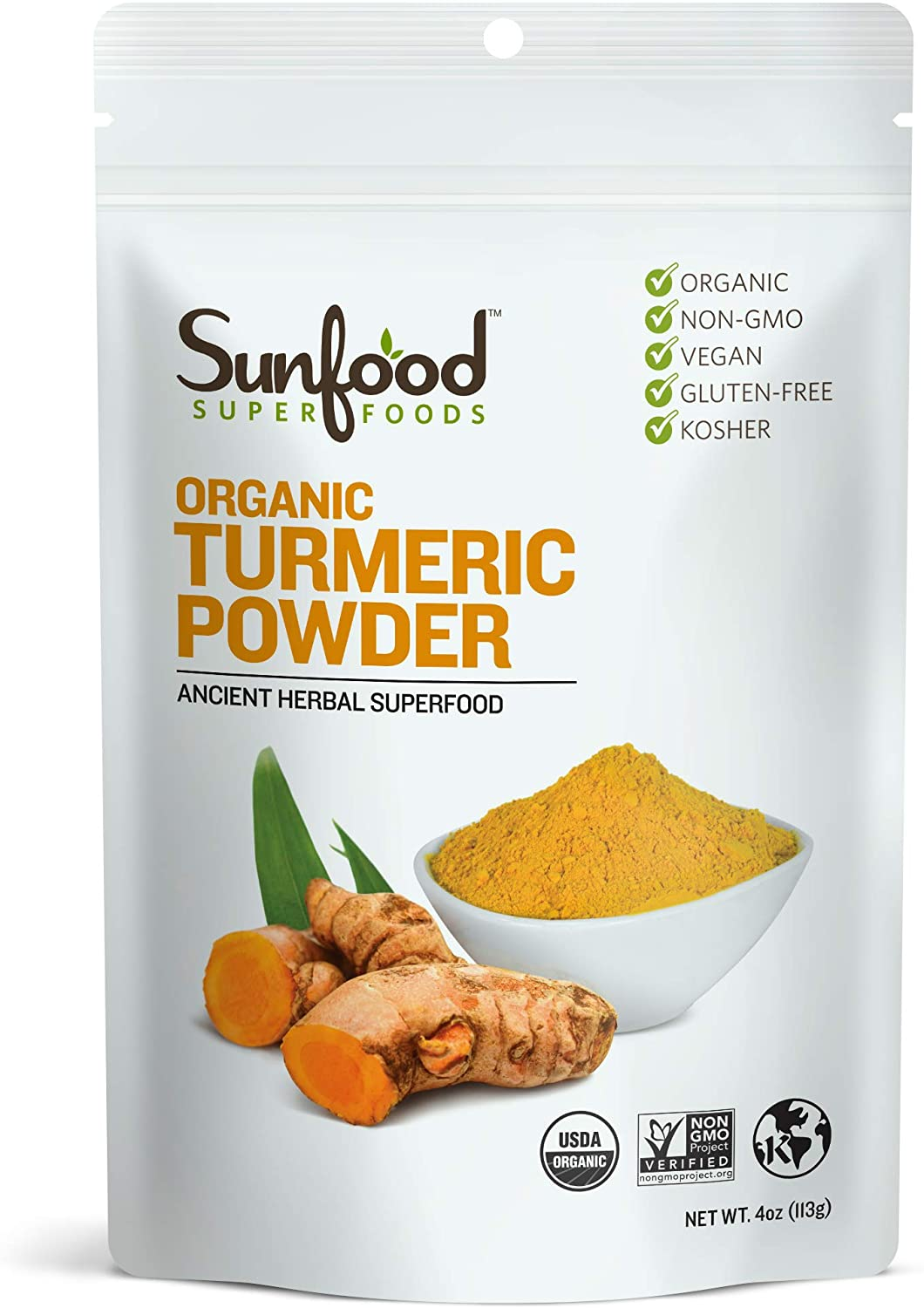 Sunfood Superfoods Organic Turmeric Root Powder - 100% Pure Medicinal Herb with Curcumin - 4 oz Bag