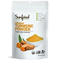 Sunfood Superfoods Organic Turmeric Root Powder - 100% Pure Medicinal Herb with...
