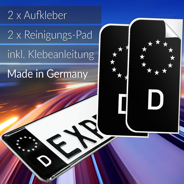 Express Hero 2x Kennzeichen Aufkleber Nummernschild Schwarz Eu D Sticker Set Tuning Eu Feld In Schwarz Inkl 2x Reinigungstücher Klebeanleitung Auto