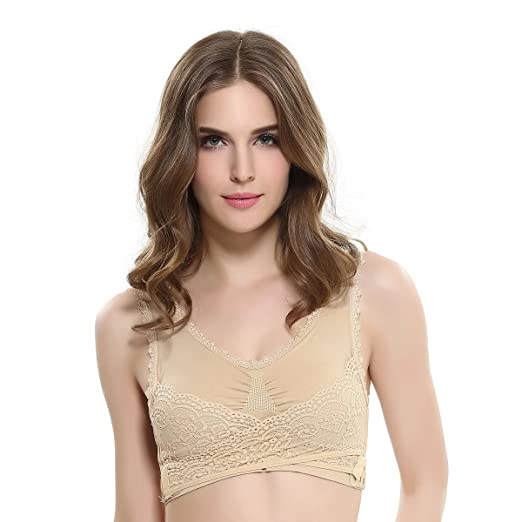 f2a20ba6e01f8 Women s Wireless Lace Gathered Seamless Sport Vest Bra with Cross Side  Buckle for Workout Yoga Gym