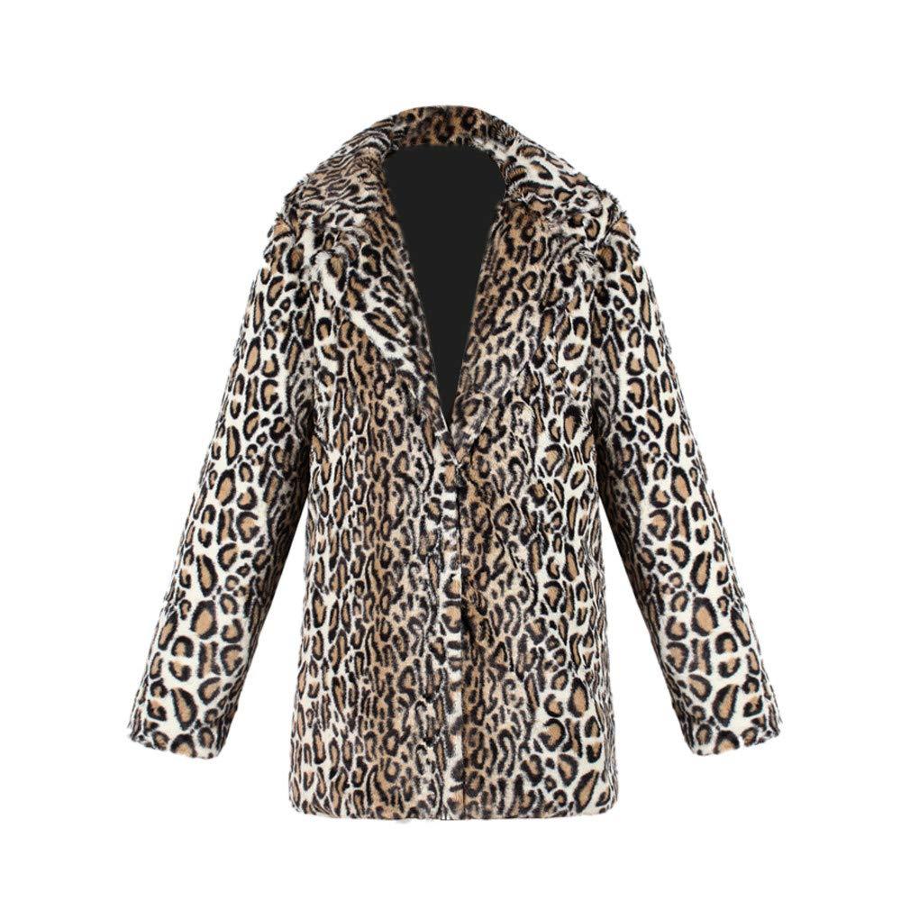 Colmkley Ladies Leopard Faux Fur Short Plush Parka Cardigan Jacket Outwear Coat