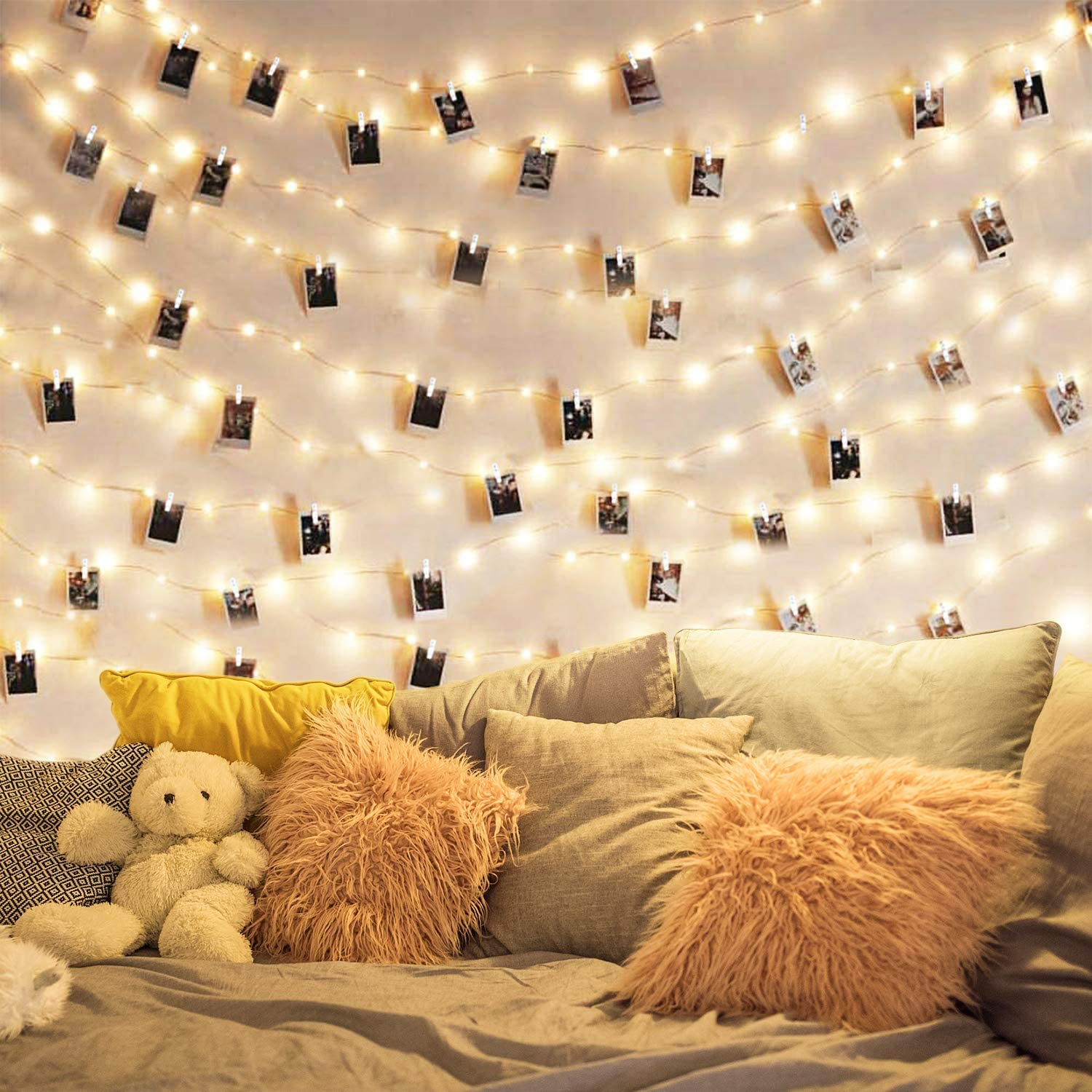 DOFASAYI LED Photo Clip String Lights 17Ft - 50 LED Fairy String Lights with 50 Clear Clips for Hanging Pictures,LED Photo Clip String Light for - Perfect Dorm Bedroom Wall Decor Wedding Decorations