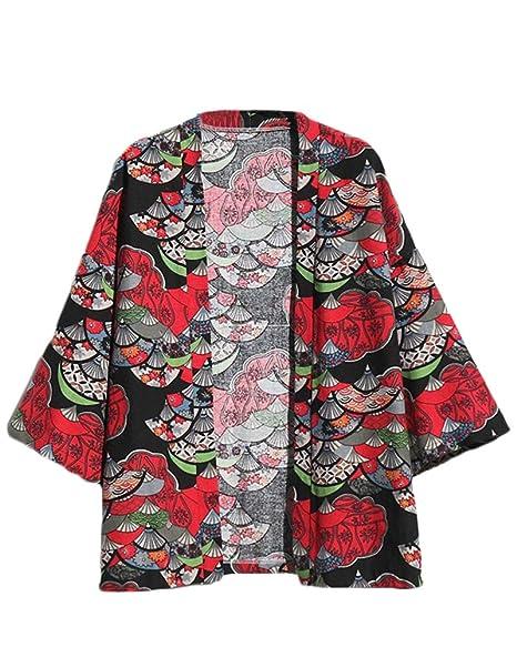 ZhuiKunA Hombre Cloak Cárdigan Camisa Chaqueta de Kimono ...