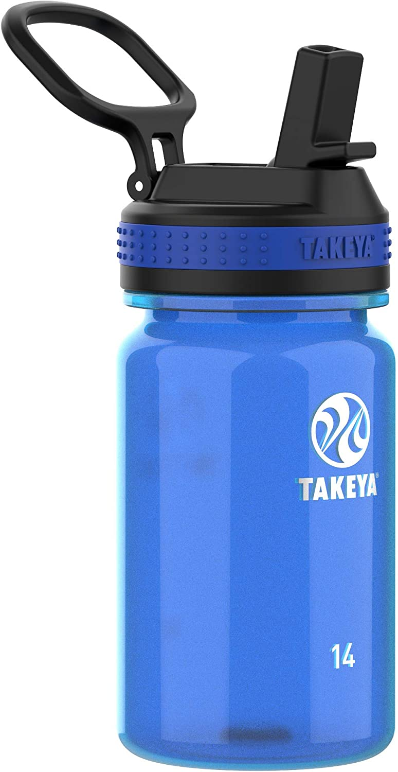 Takeya Tritan Sports Water Bottle with Straw Lid, 14 oz, Royal