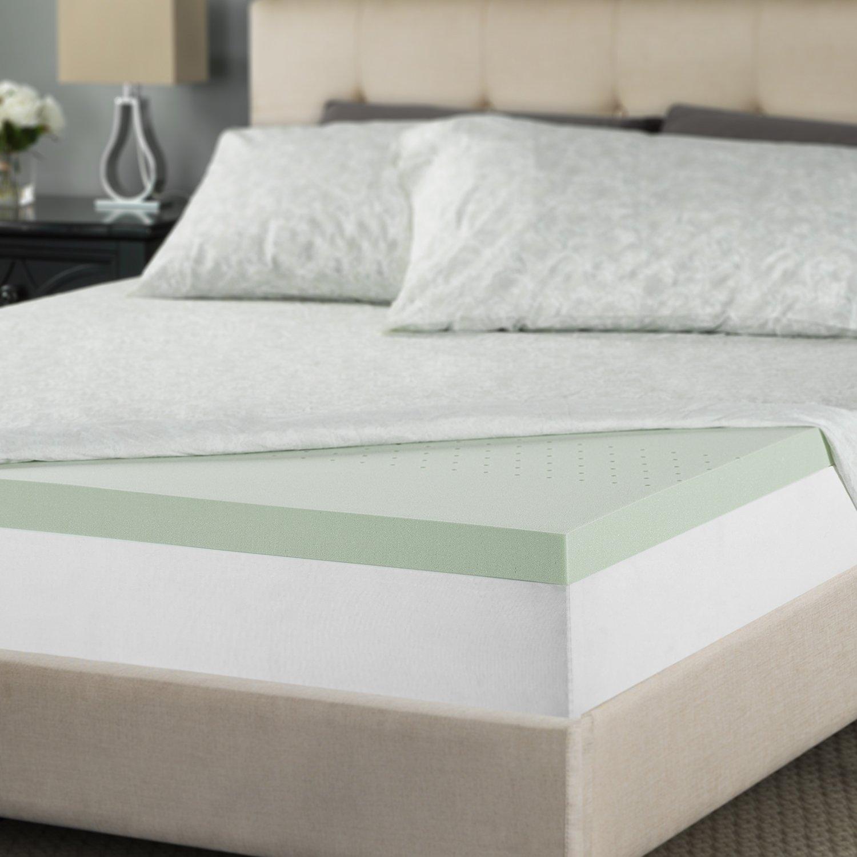 Zinus 2 Inch Green Tea Memory Foam Mattress Topper, Queen by Zinus