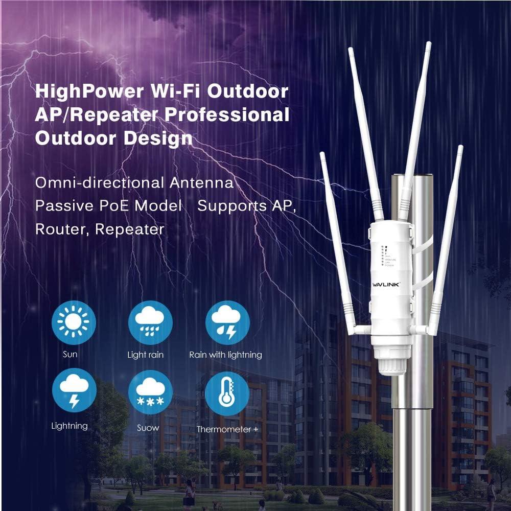 WAVLINK AC1200 Dual Band Extensor WiFi/Ap Inalámbrico para Exteriores de PoE y Antenas de Alta Ganancia, 5GHz 867Mbps and 2.4GHz 300Mbps, 1000Mbps WAN ...