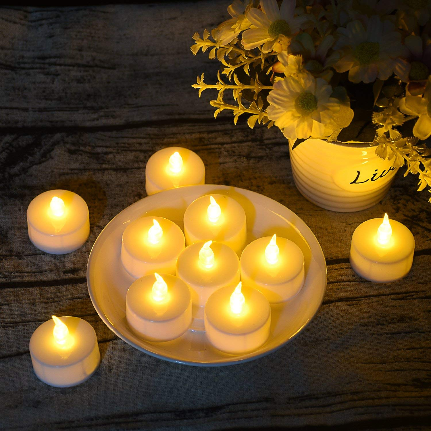 125 Pack LED Flameless Tea Light Candles, Battery Tea Light Candles, Warm White Realistic Flickering Bulb Light for Weeding, Votive, Patry, Home by Angium (Image #5)