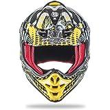 NENKI NK-303 Kinder Motocross Offroad Helm Für Kinder Dirt Bike (M 51-52CM, Schwarz Gelb)