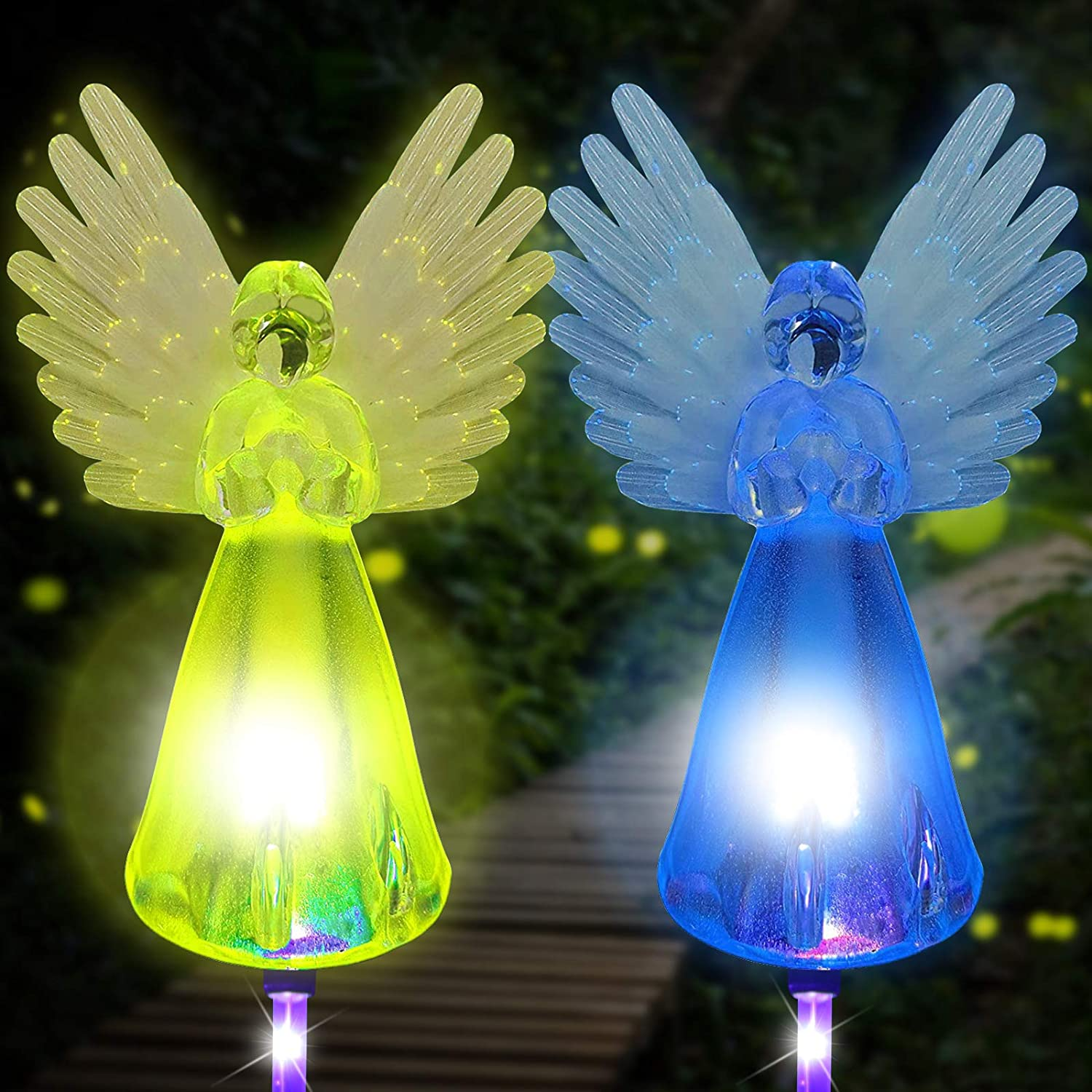 Solar Powered Angel Lights Outdoor, 2 Pack Garden Stake Light Landscape Path Lights Color Changing LED Waterproof Lawn Decorative Light for Patio Yard Cemetery Grave, Memorial Gifts for Loved Ones