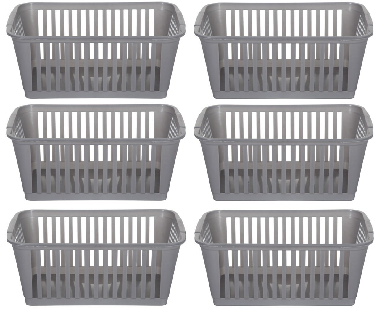 25cm Silver Plastic Handy Basket Storage Basket - Set Of 6 R & S Supplies Ltd
