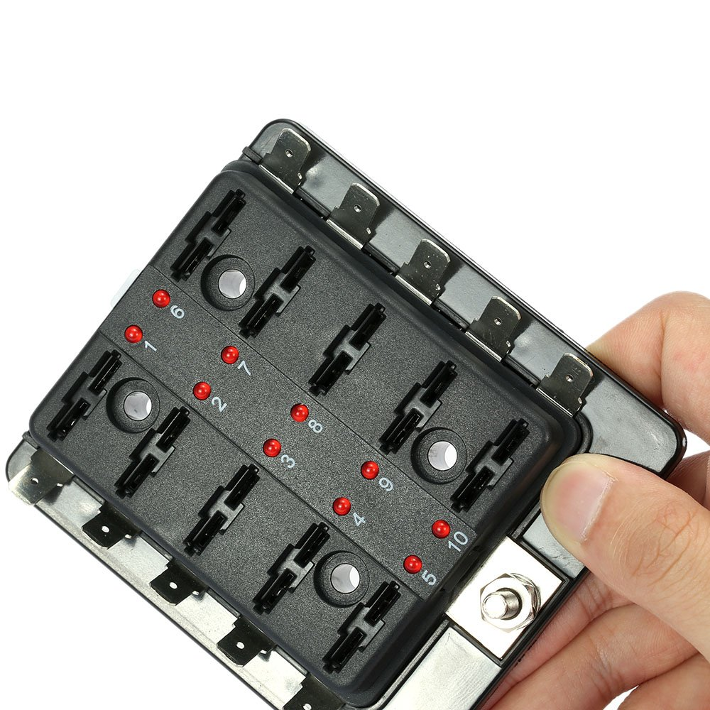 71ZFHH66WsL._SL1000_ kkmoon 10 way blade fuse box holder with led warning light kit for Marine Fuse Terminal Block at panicattacktreatment.co