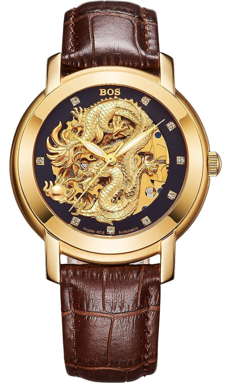 Angela Bos Herren ausgehÖhlten Chinese Dragon Fashion Mechanische Wasserdicht Armbanduhr Schwarz Zifferblatt braun