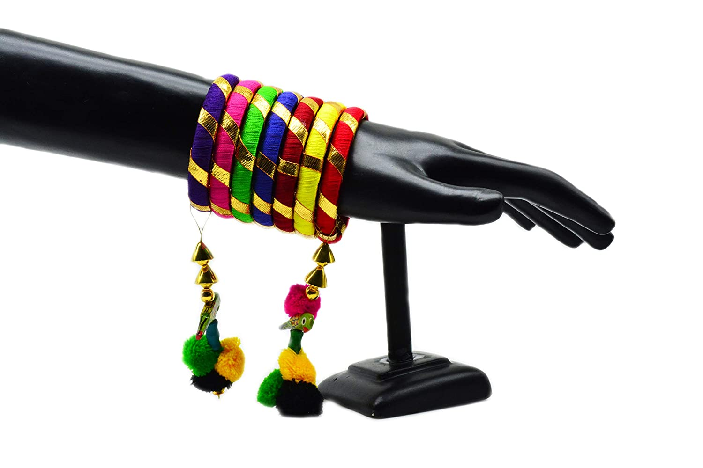 GOELX Silk Thread Gota Bangles with Latkan Parrot Hangings Stylish /& Trendy Bangle Multicolor Set