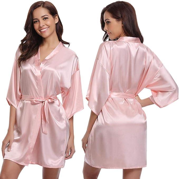 Abollria Mujer Kimono Pijama Corto Bata de Satén Kimono Mujer Batas Cortos Brillante: Amazon.es: Ropa y accesorios