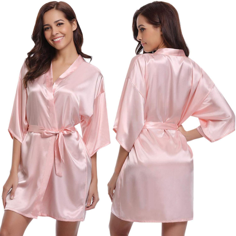 Abollria Mujer Kimono Pijama Corto Bata de Satén Kimono Mujer Batas Cortos Brillante product image