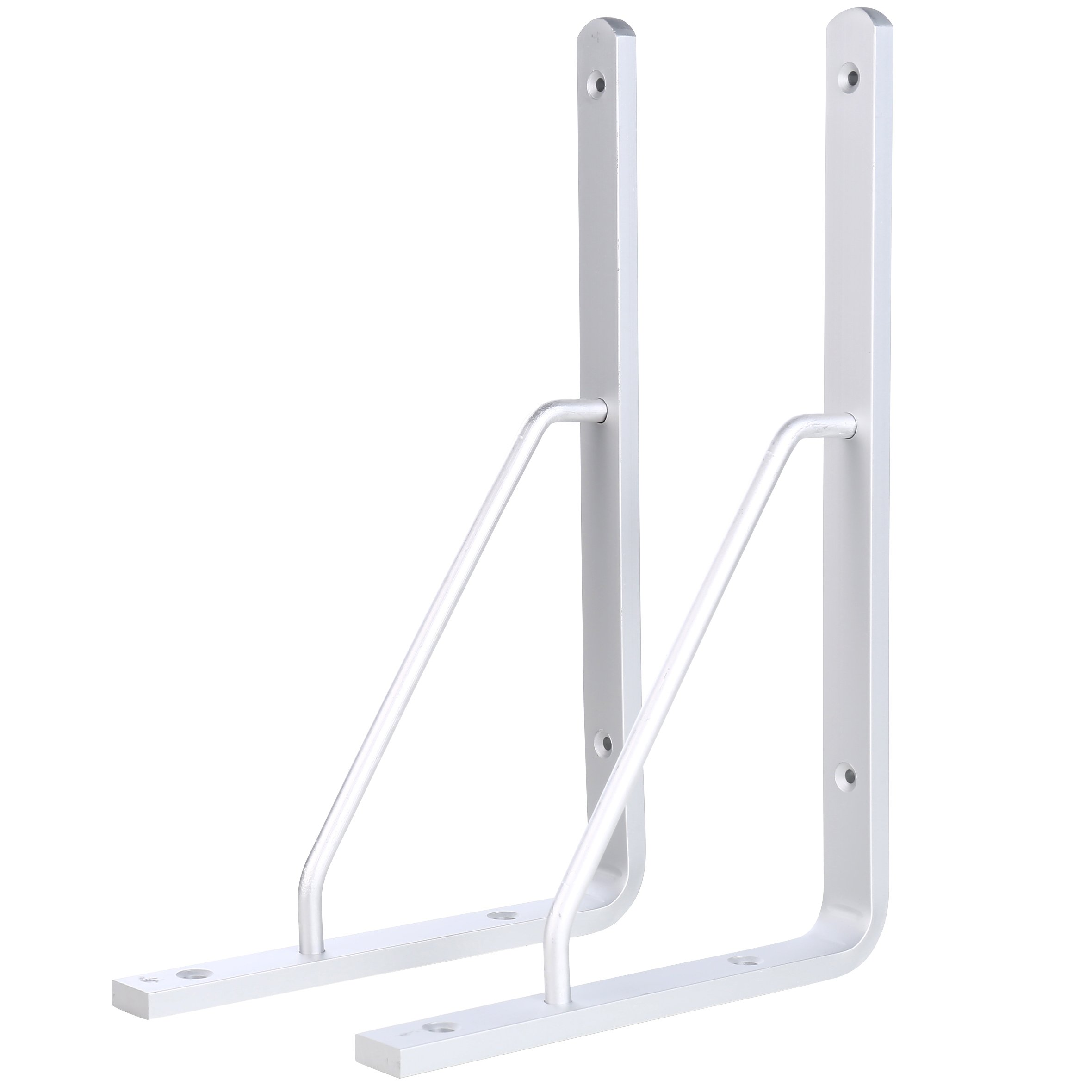 HWMATE Aluminum Alloy 16-inch L Shape Triangle Shelf Bracket Thickened Corner Brace Support Wall Mount (2 Pack)