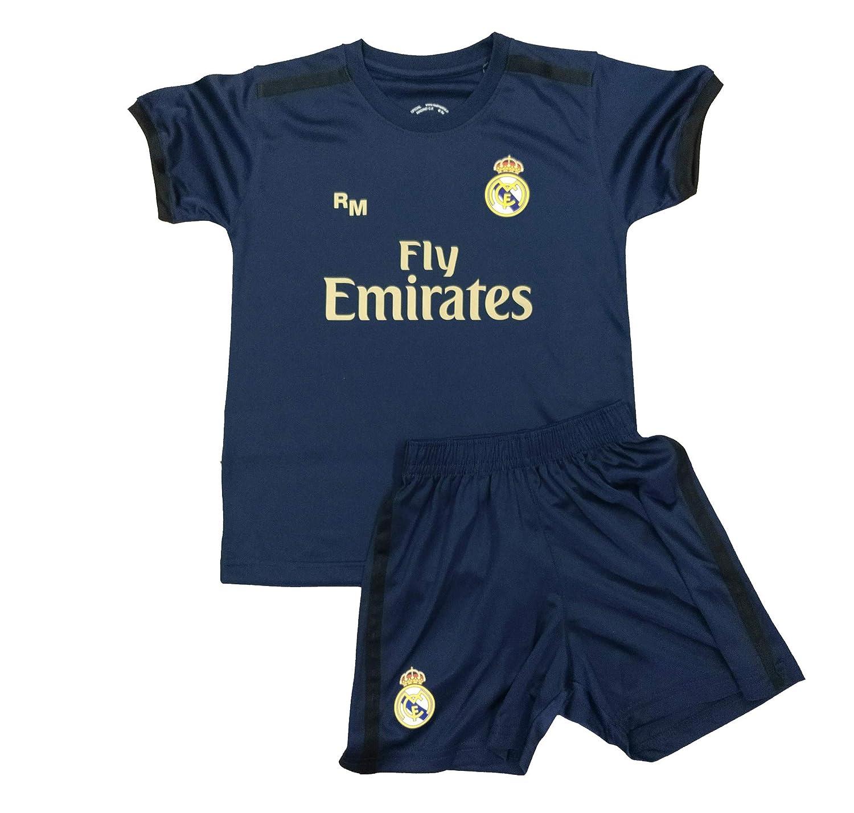 R/éplica Autorizada Kit Camiseta y Pantal/ón Infantil Segunda Equipaci/ón Real Madrid