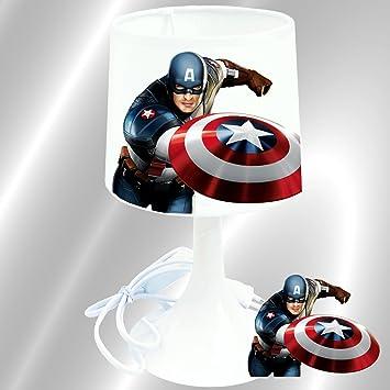 Captain America Lampe De Chevet De Creation Kikoucat Lampe A