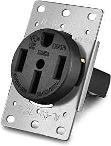 Aweking UL Listed 50 Amp 50A Power Receptacle Outlet NEMA 14-50R,Industrial Power,125 Volt,250 Volt,nema 14-50r Receptacle,Straight Blade,Flush Mounti