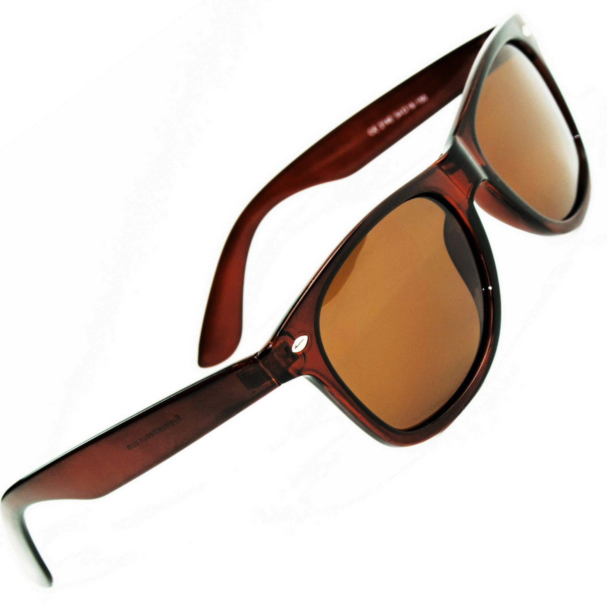 Eye Love Polarized Sunglasses for Men & Women   Glare-Free   100% UV Blocking   5+ COLORS (Glossy Brown Frame   Brown High Definition Polarized Lenses)