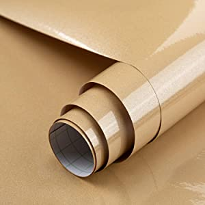 BAYYA Champagne Gold Contact Paper for Cabinet Countertop,Waterproof Peel and Stick Wallpaper for Kitchen Bathroom Living Room,Vinyl Furniture Stickers Decorative Self-Adhesive Film (Glitter Brown)