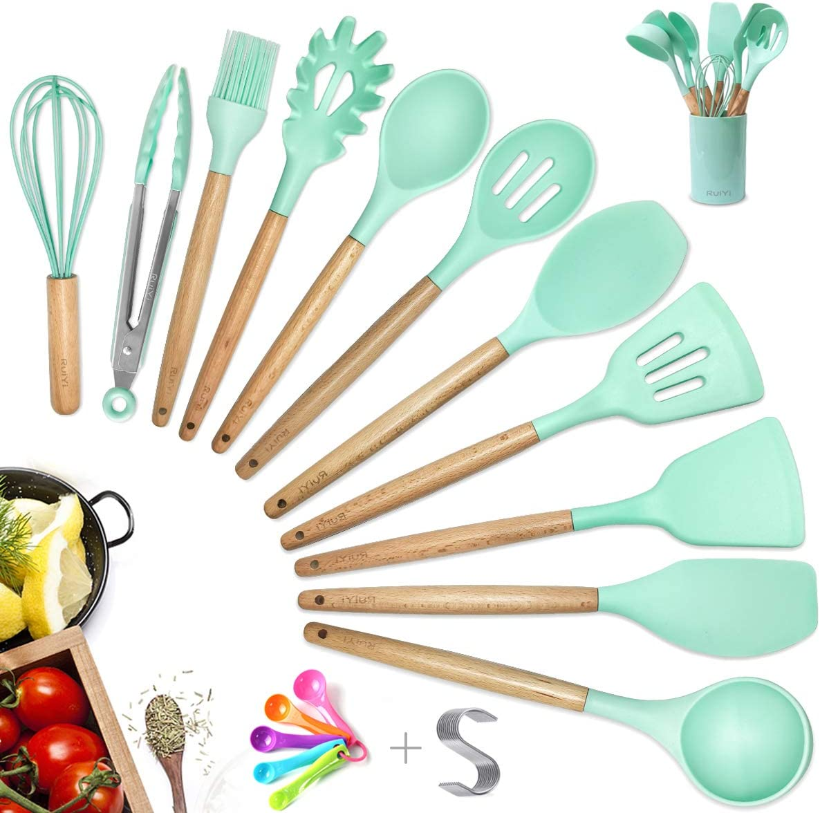Amazon Com Kitchen Cooking Silicone Utensil Set With Holder 14pcs Pioneer Wooden Spatula Measuring Spoon Set Kitchen Tools For Nonstick Cookware Kitchen Gift For Woman Mom Family Teal Kitchen Dining