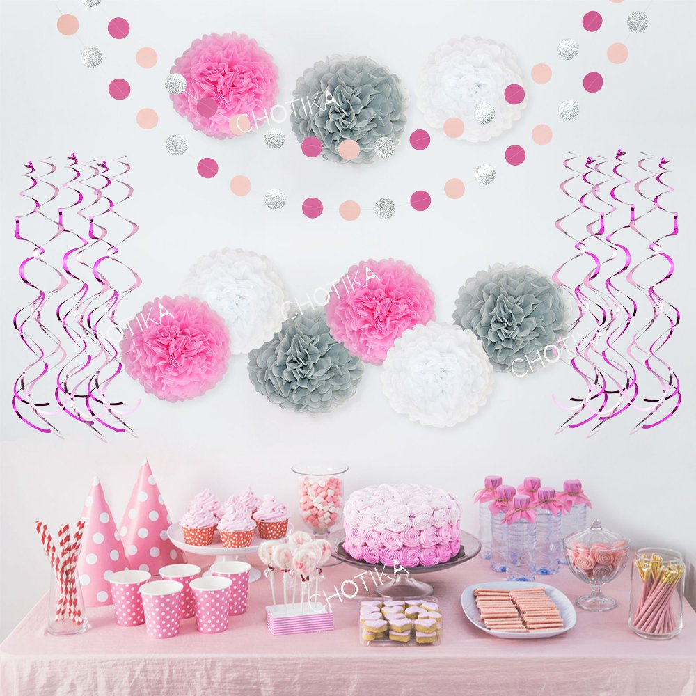 Tissue Paper Flowers Pom Poms Silver Glitter Circle Garland Hanging