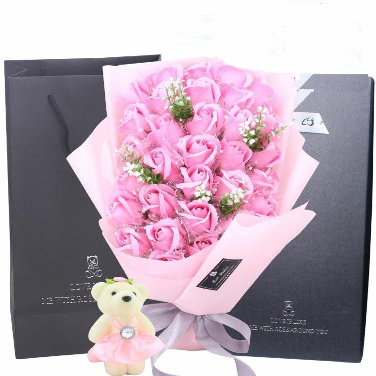 新販売 BEAR + LED付きローズ花束 SPRING COME® 誕生日 結婚祝い バレンタインデー ホワイトデー 母の日 父の日 敬老の日 結婚記念日 還暦 昇進 お祝い 恋人 友人 両親 (33本 LED付き) ピンク [並行輸入品] B01GTO31T2 ピンク ピンク