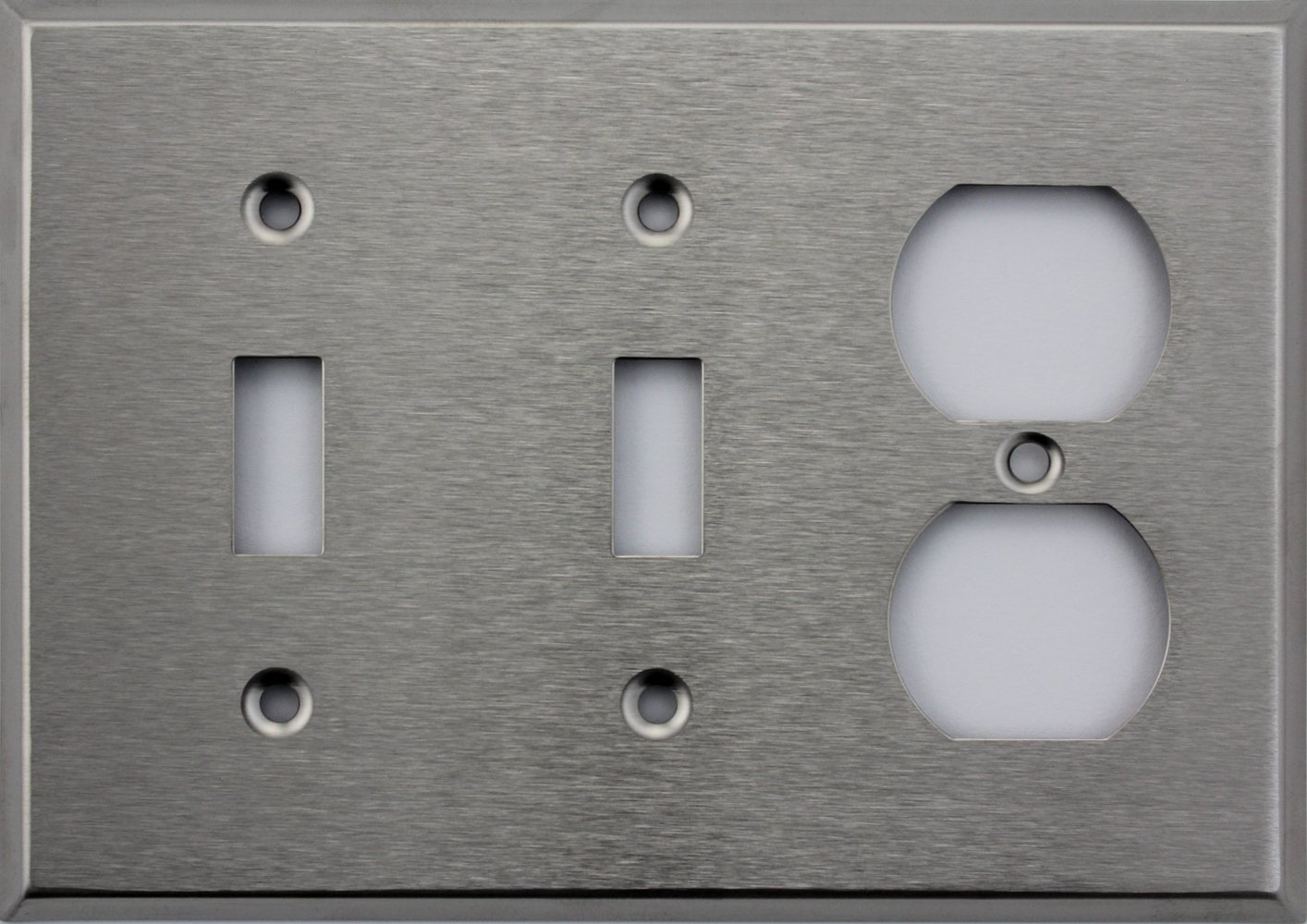 Brushed Satin Stainless Steel Three Gang Wall Plate Two Toggle Switches One Duplex Outlet